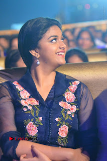 Actress Keerthi Suresh Stills in Blue Long Dress at Nenu Local Audio Launch  0006.JPG