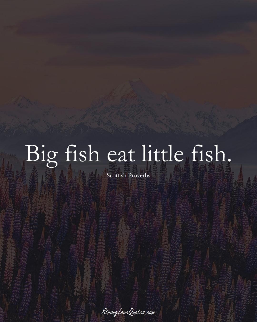 Big fish eat little fish. (Scottish Sayings);  #EuropeanSayings