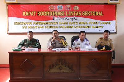 Sambut Idul Fitri 1450 H, Polres Lambar Gelar Rakor Bersama TNI dan Instansi Terkait