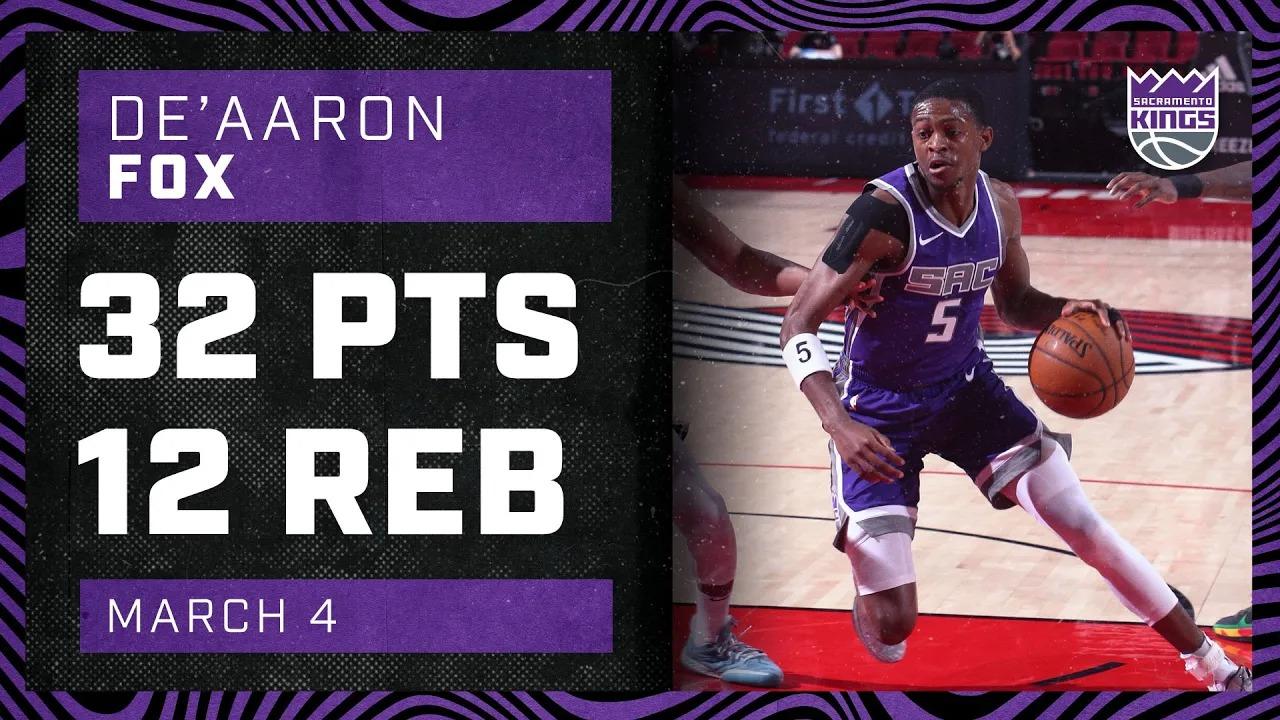 De'Aaron Fox 32pts 12reb vs POR | March 4, 2021 | 2020-21 NBA Season