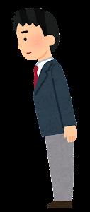 男子学生のお辞儀のイラスト(会釈)