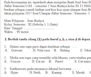 Soal-UKK-UAS-Seni-Budaya-SBK-Kelas-11-SMA-SMK-Semester-1