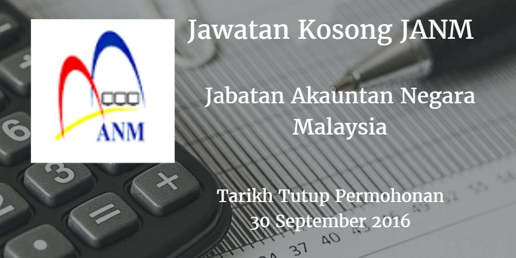 Jawatan Kosong JANM 30 September 2016