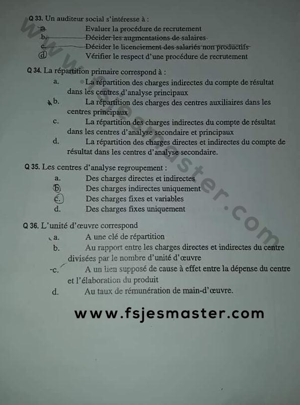 Exemple concours Master Comptabilité Contrôle Audit (CCA) 2018-2019 - Fsjes Ibn Zohr Agadir