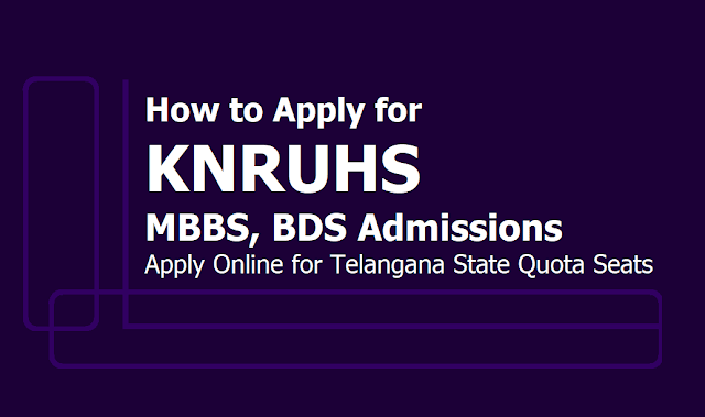 How to Apply for KNRUHS MBBS, BDS Admissions 2019, Apply Online till June 28 (State Quota Seats)