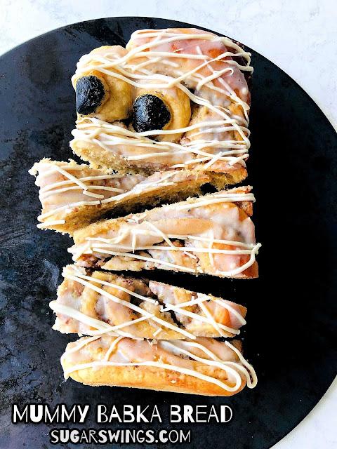 Mummy Babka Bread for Halloween