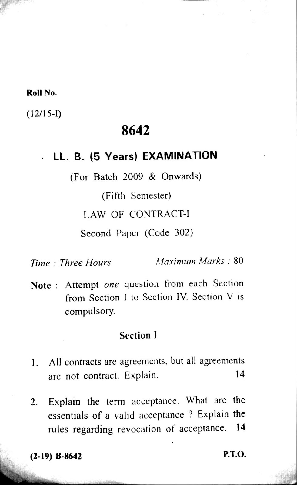 Previous/Last years question paper of Law of Contract for LL