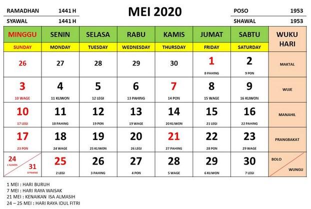 kalender tahun 2020, mei