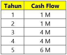 Contoh Cash Flow sebuah Perusahaan untuk 5 Tahun