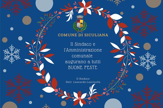 Auguri di buon Natale dal Sindaco Leonardo Lauricella e dall'Amministrazione comunale.