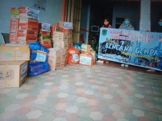 Ikatan Bidan Luwu Utara Menyalurrkan Bantuan Secara Tunai Maupun Logistik Kepada Korban Gempa Sulbar