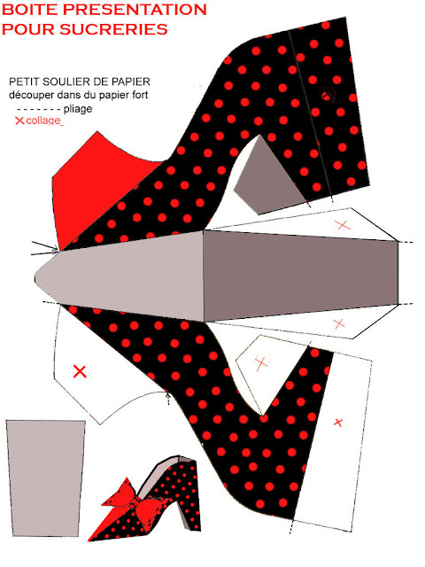 Free Printable Black with Red Polka Dots Paper Shoe.