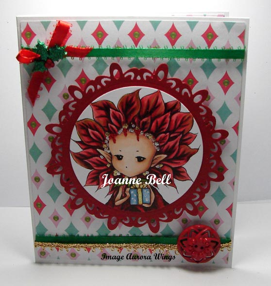 christmas card with poinsettia sprite holding a present