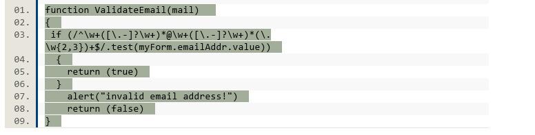 javascript program for email validation