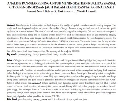 Analisis Pan-Sharpening untuk Meningkatkan Kualitas Spasial Citra Penginderaan Jauh [PAPER]