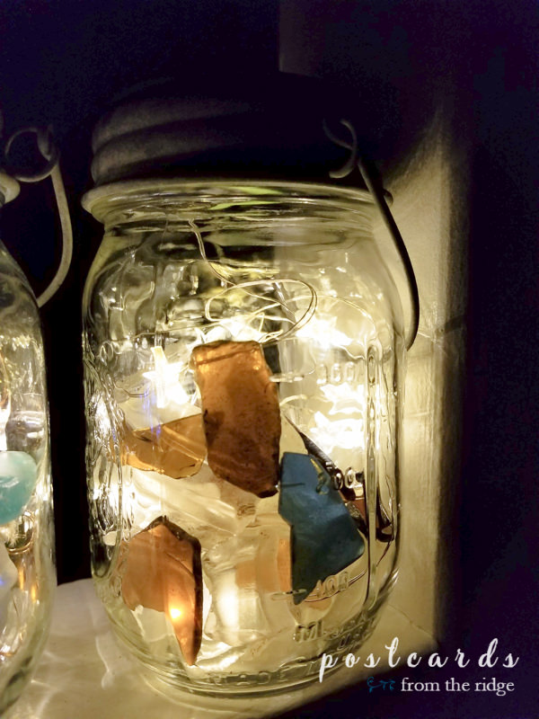 solar powered mason jar lantern made with sea glass