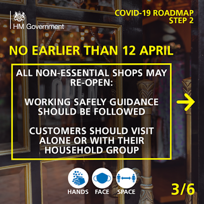UK Gov COVID Roadmap Business 3 of 6 non essential shops no earlier than April 12th
