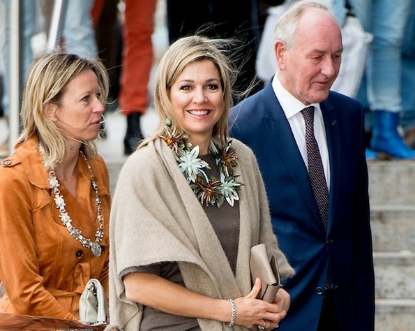 "Dutch Queen Maxima attended the symposium of ""Music Education we do together"" (Muziekeducatie doen we samen)  Jewelry, diamond tiara, diamond earrings"