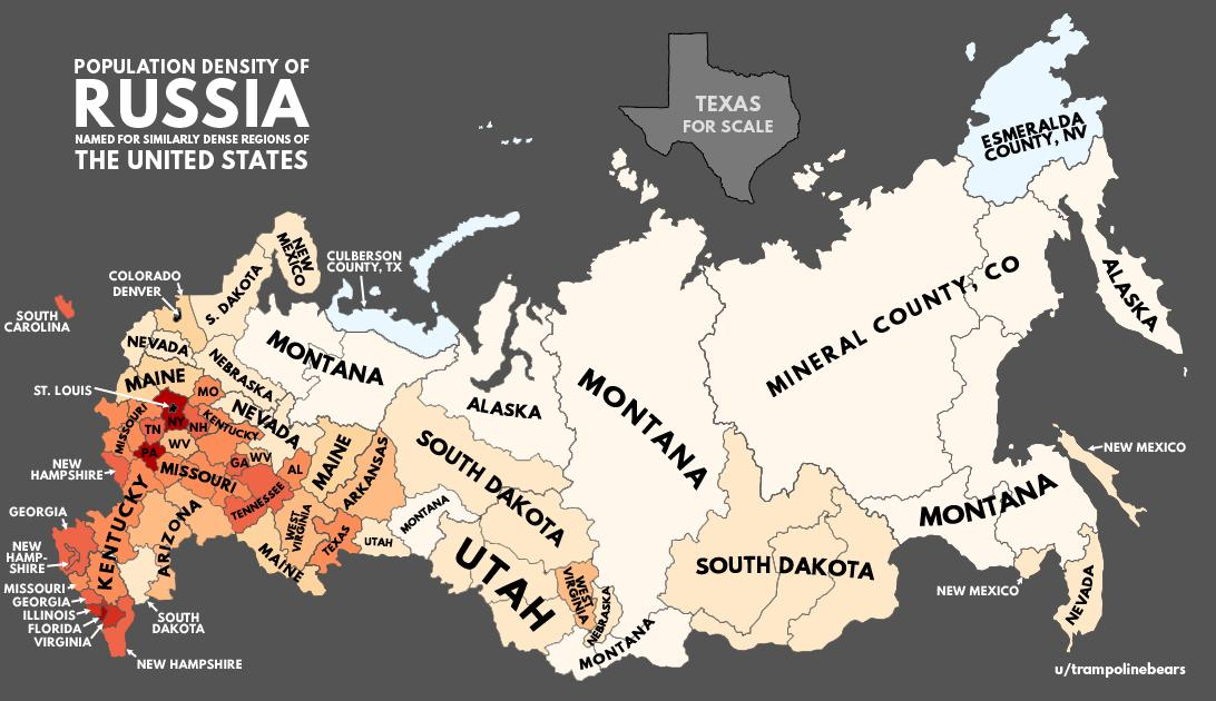 Population Density Of Russia With US Equivalents Vivid Maps - Us russia map