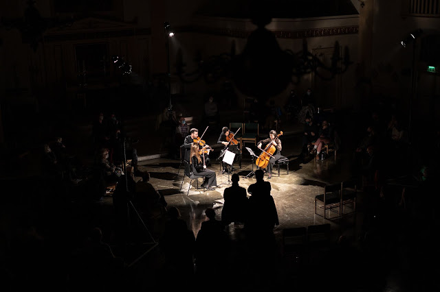Solem Quartet (Amy Tress, William Newell, Stephen Upshaw, Stephanie Tress) at Spotlight Chamber Concerts at St John's Waterloo (Photo Matthew Johnson)