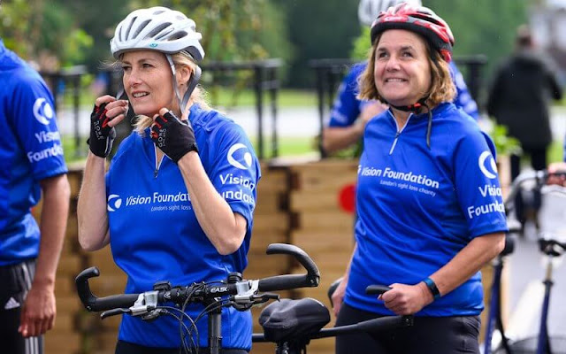 As Patron of The Vision Foundation, The Countess of Wessex joined visually impaired and sighted cyclists for a tandem bike ride