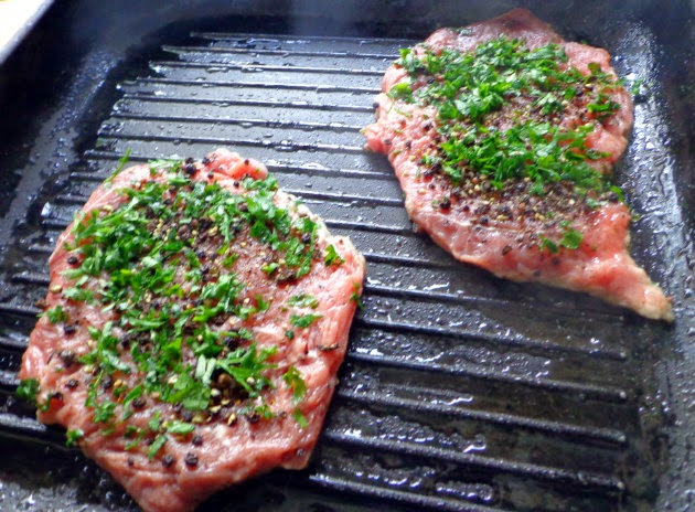 Cook steaks in hot grill pan