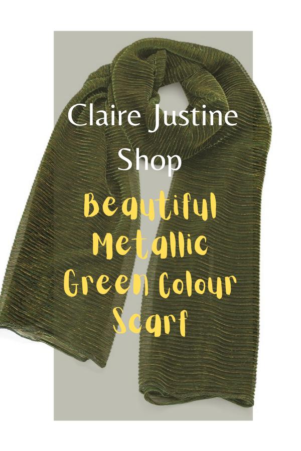 Beautiful Metallic Green Colour Scarf.