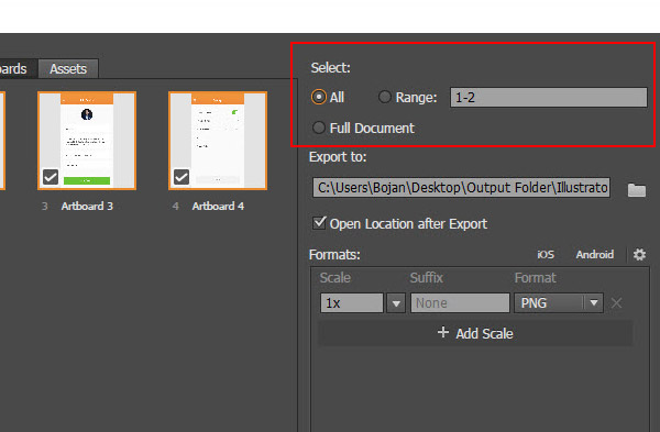 choose which artboards to export