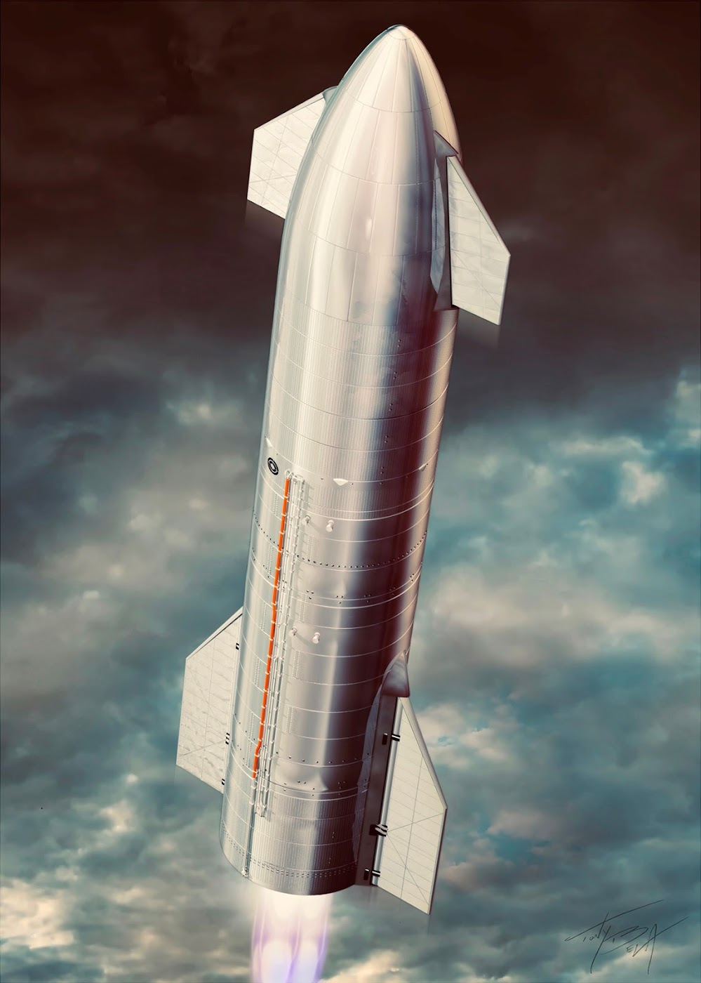 Poster of SpaceX's Starship SN8 launch by Tony Bela