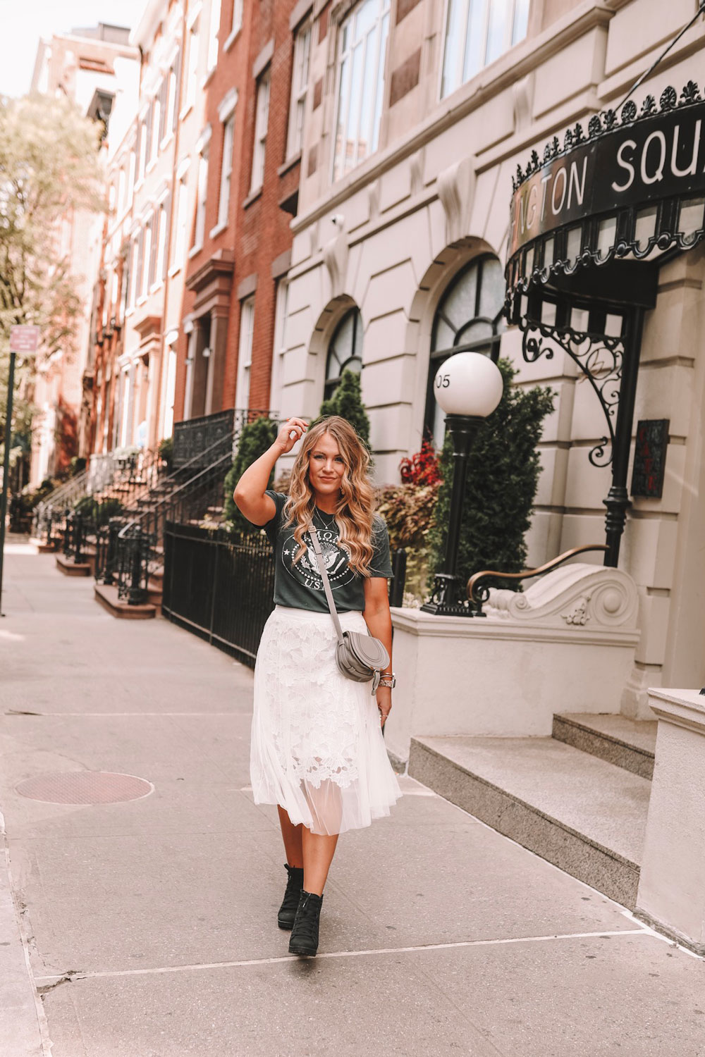 OKC blogger Amanda Martin wearing Lulu's lace skirt and a band tee at New York Fashion Week