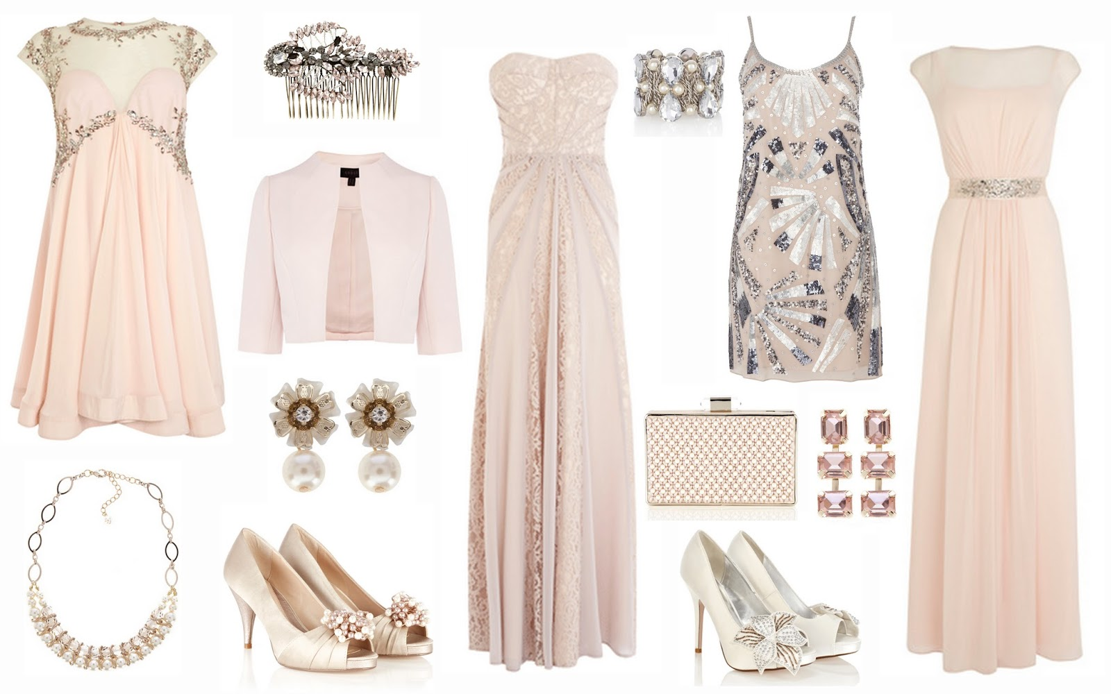 a6b420bbcd2 From top to bottom  Thalia blush embroidered dress £250. Padme pearl  necklace £25. Rupal hair comb £9. Keleste cropped blazer £75. Anakin pearl  earrings £7.
