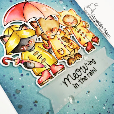 Meowing in the Rain Card by Samantha Mann for Newton's Nook Designs, Distress Inks, Ink Blending, Rain, Cards, Handmade Cards, #newtonsnook #cards #rain #cardmaking