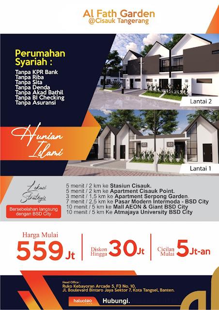 Al Fath Garden Cisauk Perumahan Syariah dekat Stasiun Cisauk Tangerang