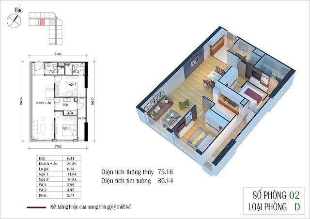 Thiết kế căn 02 tòa CT2 Eco green city
