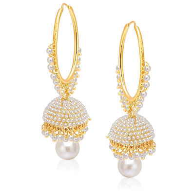 Gold-Plated Pearl Jhumki Earrings