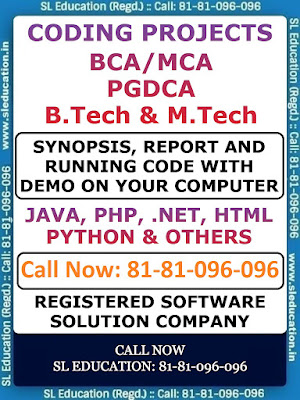 Running #code projects (#JAVA, #PHP, #PYTHON, .#NET, #HTML, etc.) are available for #BCA, #MCA, #PGDCA, #BTech, #MTech. We also provide demo on your computer. #Synopsis, #Report and #running project #code on CD is also provided for your reference. Suitable for students of all #universities. Project #guide and #training is also available for #IGNOU #students.