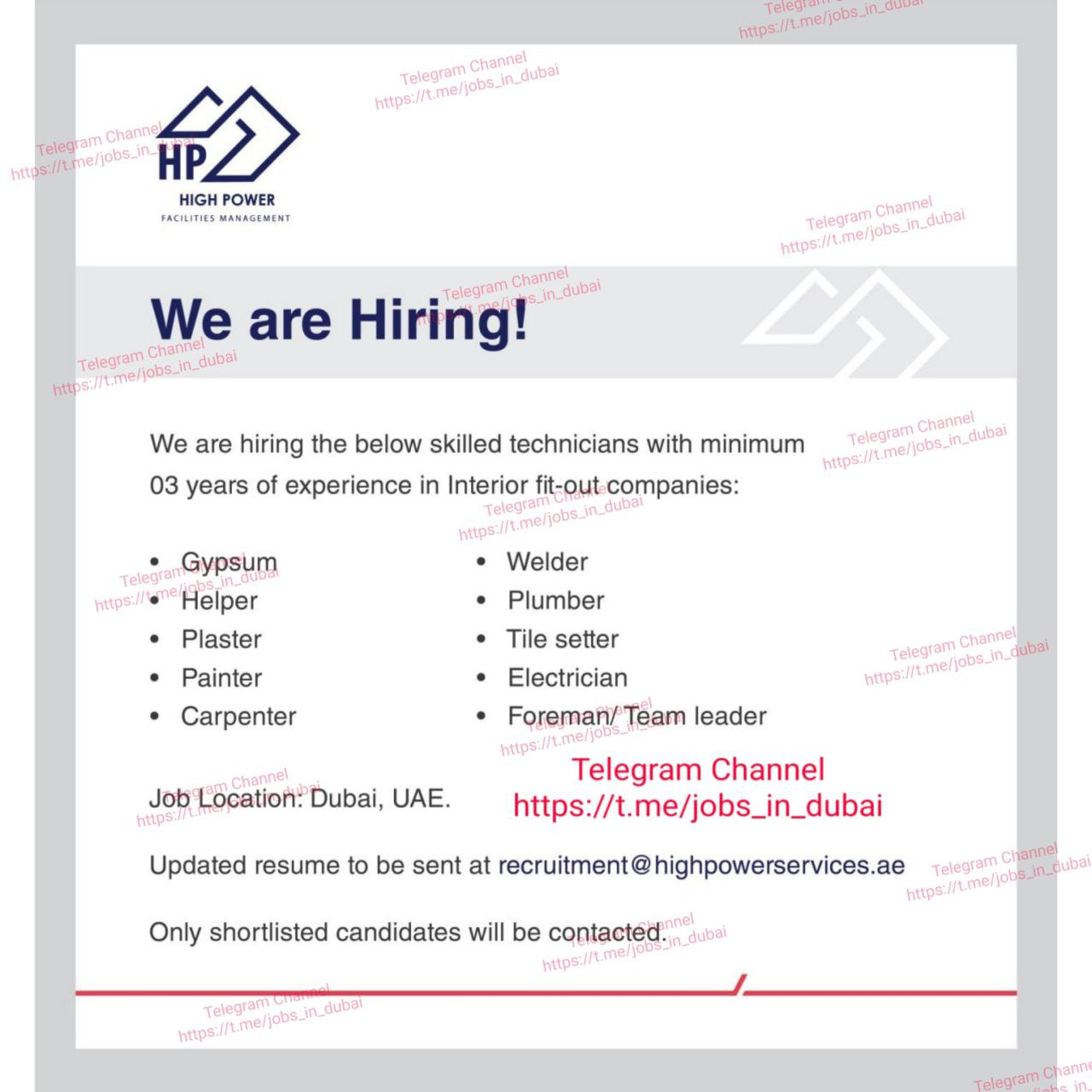 Latest Job Opportunity In High Facility Management Company Dubai - 2021