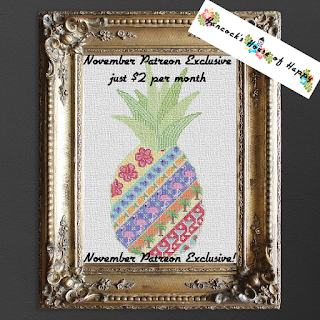 Tropical Cross Stitch Sampler. A Pineapple Pattern Cross Stitch Design.