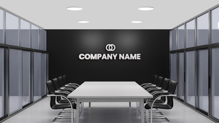 Logo Mockup Black Wall Meeting Room Office
