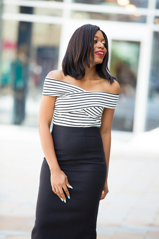 Chicwish cold shoulder striped top, www.jadore-fashion.com