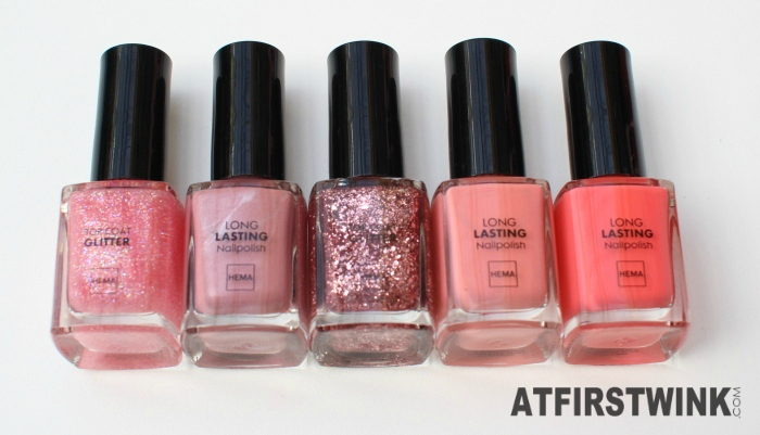 my top 5 of the HEMA S/S 2015 nail polishes pink theme