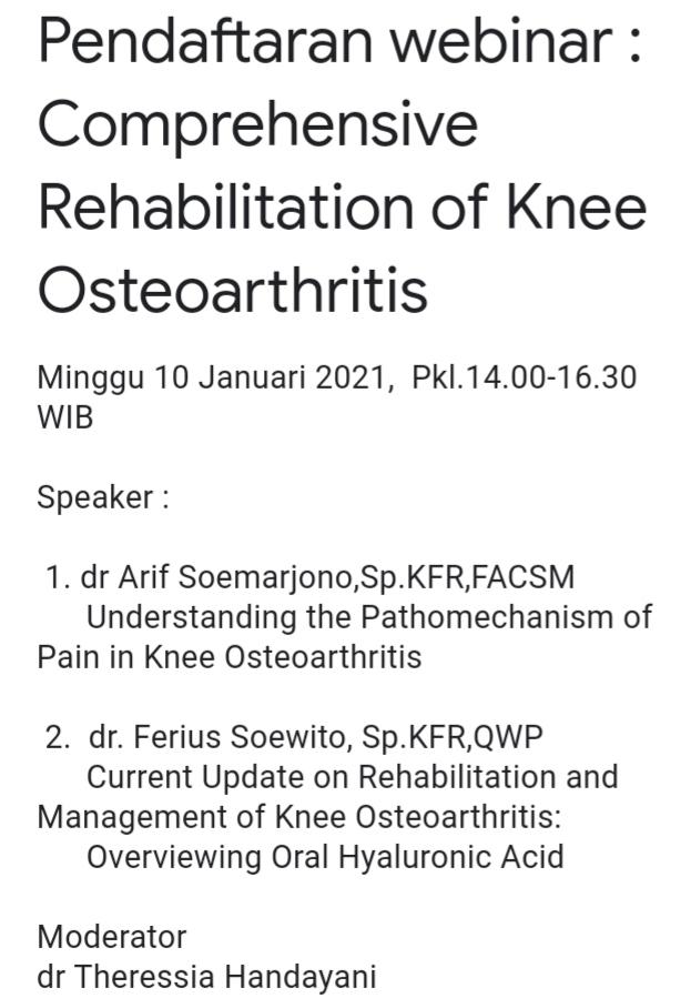 "Webinar GRATIS ""COMPREHENSIVE REHABILITATION OF KNEE OSTEOARTHRITIS"""