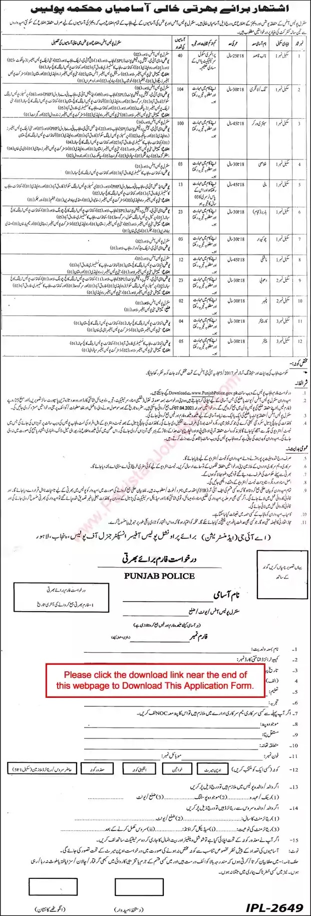 New Jobs in Pakistan Punjab Police Jobs 2021 | Download Application Form