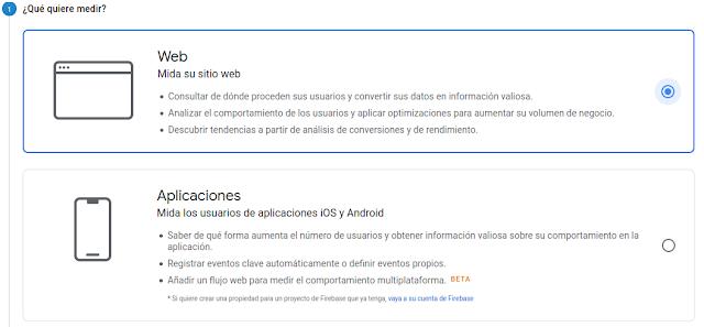 Menú para creación de nuevas propiedades en Google Analytics