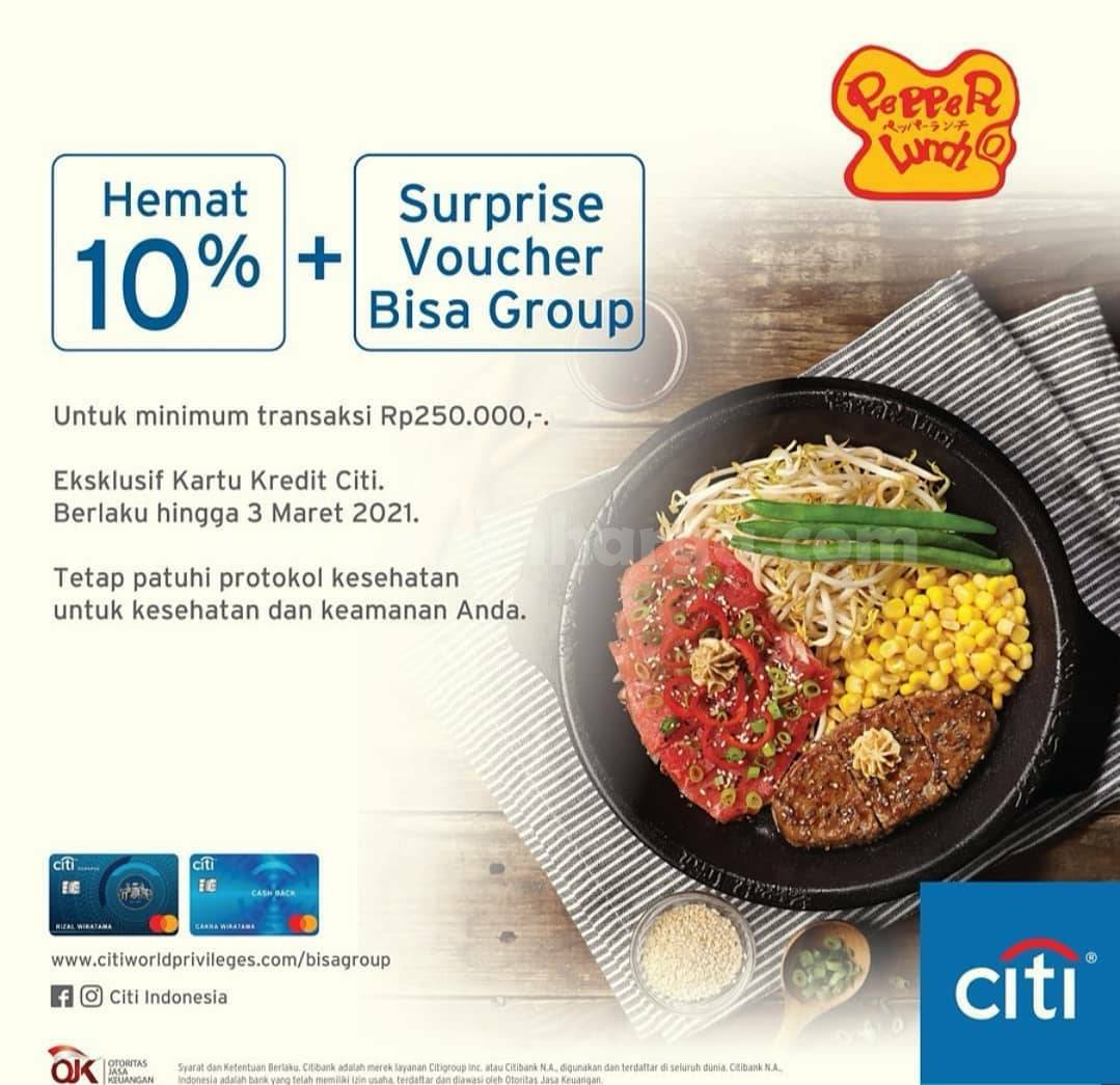 PEPPER LUNCH Promo HEMAT 10% + Surprise Voucher dengan Kartu Kredit CITI