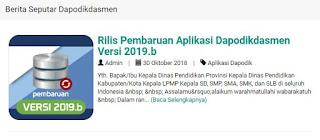 Tim Dapodikdasmen pusat telah melakukan pembaruan sistem aplikasi dapodikdasmen kembali Rilis Aplikasi Dapodikdasmen Versi Terbaru 2019.b