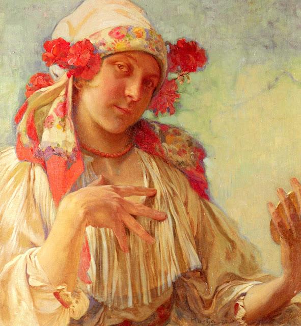 Альфонс Муха - Портрет юной девушки в моравском костюме. 1908