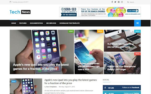 Tech News blogger theme