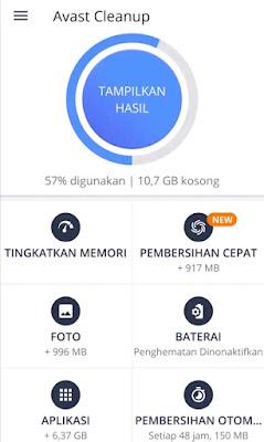 Tampilan aplikasi Avast Cleanup & Boost