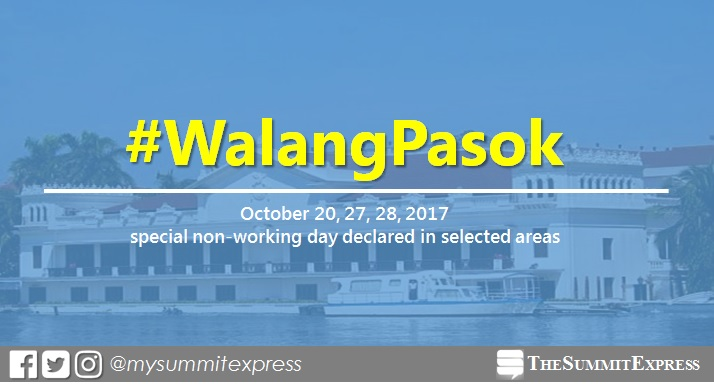 #WalangPasok: October 20, 27, 28, 2017 special holiday declared in selected areas